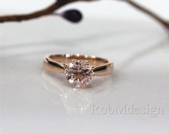 Fancy 7mm Morganite Ring 14k Rose Gold Ring Solitaire Gemstone Engagement Ring Wedding Ring
