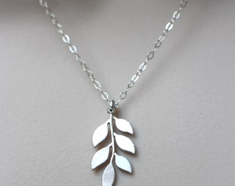 Sterling silver leaf pendant sterling silver leaf necklace silver leaf necklace leaf pendant on sterling silver chain leaf jewelry nature inspired aloadofball Image collections