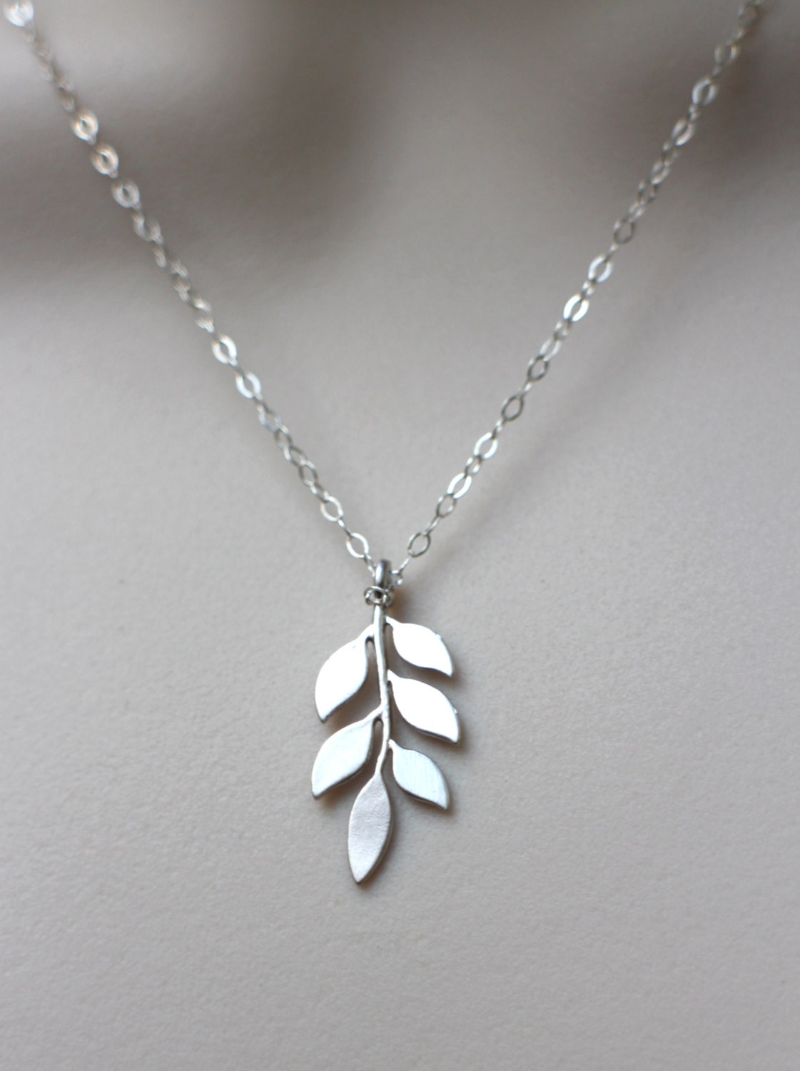 Silver Leaf Necklace Leaf Pendant On Sterling Silver Chain