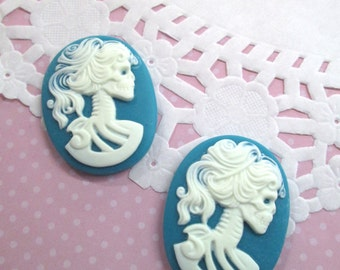 30x40mm Teal Skeleton Cameo Cabochons, Day of the Dead, Lady Cameos