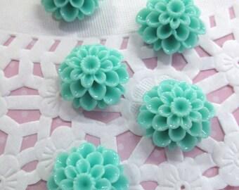 Aqua Blue  21mm Mum Cabochons, Lovely Chrysanthemum Flower Cabs