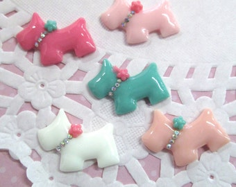 Resin Terrier Dog Cabochons with Rhinestones, #619A