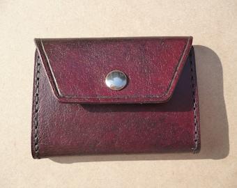 Handmade Tri-Fold Leather Wallet - Mahogany