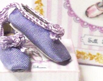 Handmade Miniature Lilac Silk Dolls House Ballet Shoes
