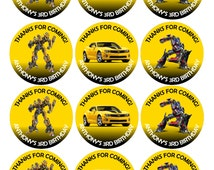 """Transformers 2.5"""" Cupcake Topper - Robot Printable - Digital - Birthday Party -  Customized Personalized - Birthday Tag"""