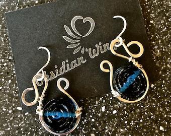 Sterling Silver Wire Wrapped Blue Lampwork Bead Earrings