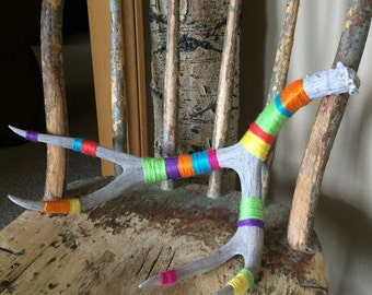 Bright and Colorful Yarn Bombed Deer Antler / Cheerful Colors / Yarn Wrapped by Hand