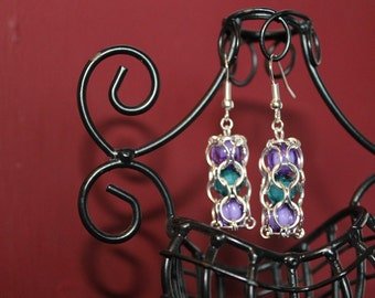caged beads earrings