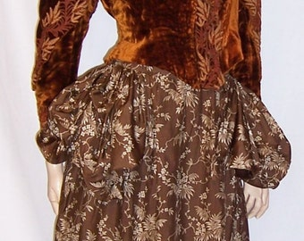 Luxurious Victorian Two-Piece Ensemble with Embroidered  Silk Velvet Bodice & Printed Silk Skirt