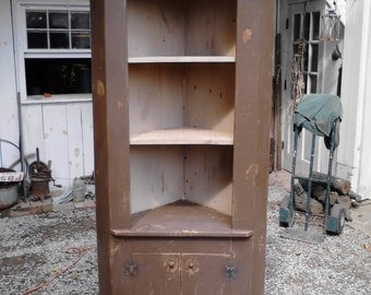 Primitive 3-Shelf Corner Cabinet