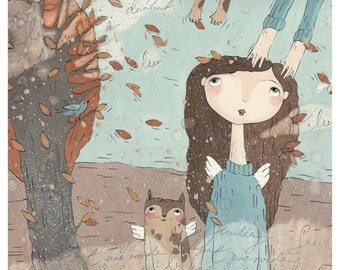 Autumn Illustration-Cat-Girl-With Wings-Falling Leaves-Art Print