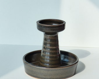 Vintage candle holder by Ravelli, Dutch design, sixties, seventies, brown candlestick