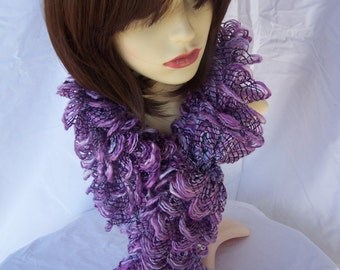 Hand Knitted Purple And Lilac Frilly Scarf