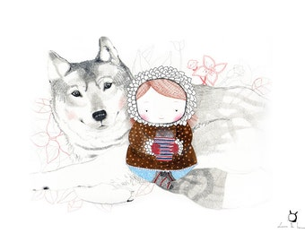 "Art Print ""The Wolf-Trust Your Instinct""-Illustration for a children room"
