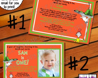 Dr. Seuss BIRTHDAY INVITATION Sam I am Green eggs and ham Photo Dr. Seuss inspired invites Cat in the hat thing 1 thing 2