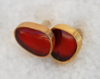 Red Pebble Earrings/Goldplated Bronze/Silver Pins/Summer trends.