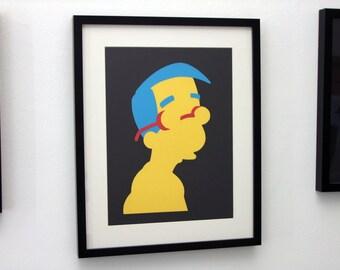 Milhouse Van Houten Card Cut Out. The Simpsons, Milpool, Silhouette, Paper Cut - FREE UK P&P