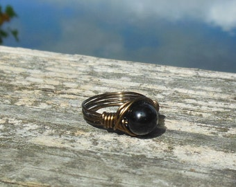 size 12 - Black Jasper stone antique brass gold wire wrapped Ring - handmade gemstone natural wrap men women unisex jewelry rustic simple