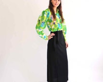sheer floral blouse . vintage blouse . green floral blouse . puffy sleeve blouse . vintage gauze blouse . small to medium size