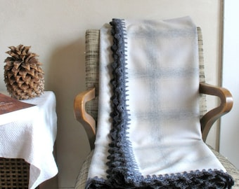 Wool Throw / Blanket Scarf in Gray/Pearl White Ombre Plaid w/ Crocheted Edge Wool Home Decor