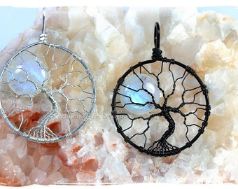Rainbow Moonstone Large Tree-of-Life Pendant Full Moon Wire Wrapped Jewelry Argentium Sterling Silver Black Reclaimed Recycled Eco Friendly