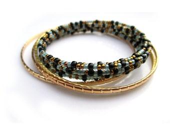 Turquoise Seed Bead Bracelet. Stacking Bracelet Set. Gold Bracelet Bangle Layer Set - BAYOU
