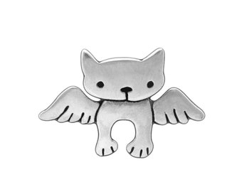 Sterling Angel Kitty Necklace - Silver Cat Pendant - Cat with Wings - Cat Memorial
