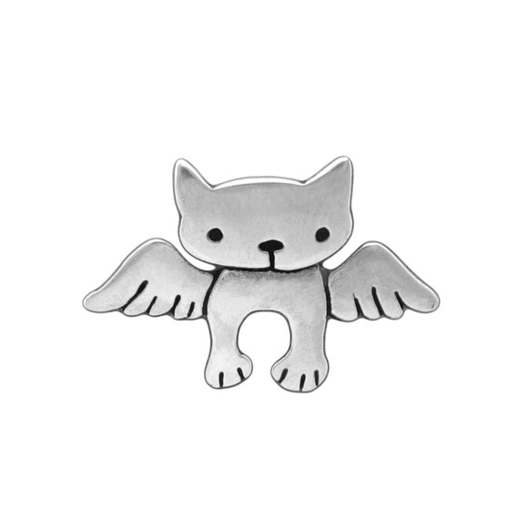 Sterling Angel Kitty Necklace - Silver Cat Pendant - Cat with Wings - Pet Memorial