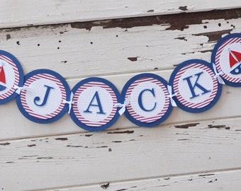 Nautical Name Banner- Boy 1st Birthday