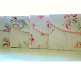 shabby chic clutch purse Bridesmaid Gift Bridesmaid Clutch purse Set of 4 Wedding Party Favor Shabby Chic bag cosmetic bag pink rose for her