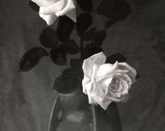 "Vintage photo Print White Roses in Ceramic Vase 24""X36"""