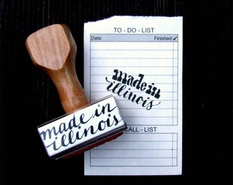 Made in Illinois Stamp, Made in Your State Stamp, Modern Calligraphy, Hand Lettered, Wood Handle Rubber Stamp, Shop Packaging