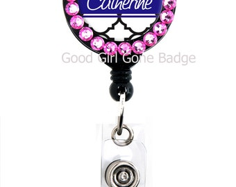 Retractable Badge Reel - Navy Blue or Grey Trellis, Personalized Name with Pink Swarovski Rhinestones