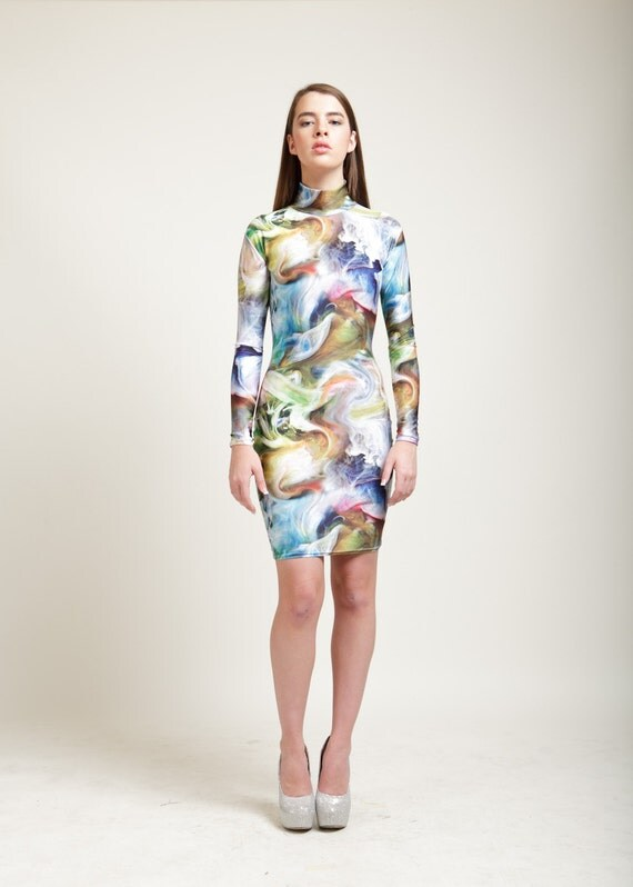 SALE Oracle of Delphi Multicolored Smoke Long Sleeved Swan Neck Dress