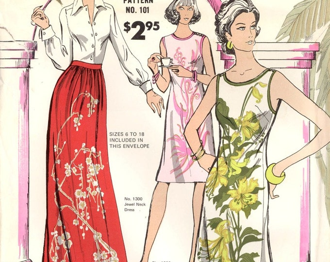 Mod shift dress vintage sewing pattern Alfred Shaheen of Hawaii #101 Dress and skirt pattern Sz