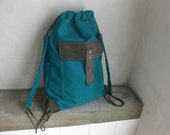 Drawstring Cinch Sack Turquoise-Blue Aquamarine Canvas Backpack Cinch Sack