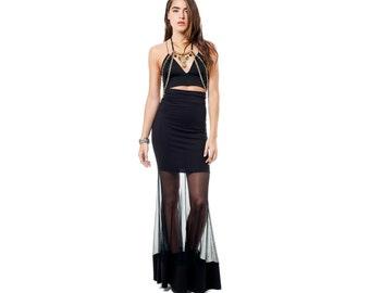 Black Maxi Skirt, Sheer Black Skirt, High Waisted Skirt, Fitted Skirt, Black Flared, Panel Skirt, Norwegian Wood, Goth Skirt, Gothic Skirt,