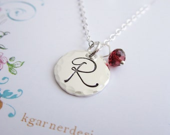 Personalized necklace, custom January birthstone necklace, custom initial necklace, silver initial, January birthday, garnet necklace