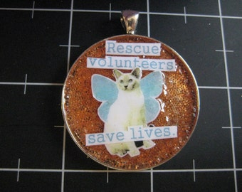 """Flutterfairy Cat: """"Rescue Volunteers Save Lives"""", Glass Microbead Background, 50% goes to the current selected animal charity"""