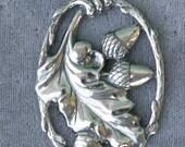 Acorns and Oak Leaf Large Sterling Silver Pendant