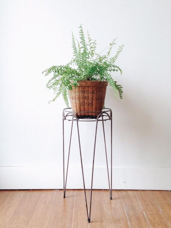 Mid Century Hairpin Leg Planter Tripod Metal Side Table