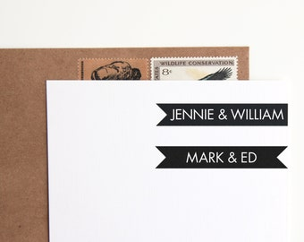Custom Rubber Stamp Modern Nameplate, Personalized with Couples Names or First and Last (Wood Mounted) DIY Wedding Favors, Save the Date