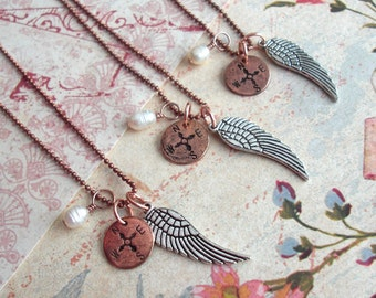 """Silver Angel Wing Necklace + Mini Disc + Pearl. 18"""" ball chain. antiqued chrome plated wing. tiny compass design. embossed metal design gift"""