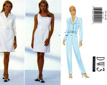 Butterick 4821 DW3 Easy Jean Jacket Dress Pants by David Warren Size 14 16 18 Uncut Sewing Pattern 1997