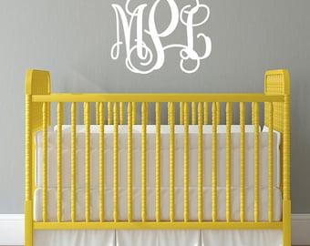 Personalized Script Monogram - Nursery Vinyl Lettering - Wedding Monogram - Children Wall Decal
