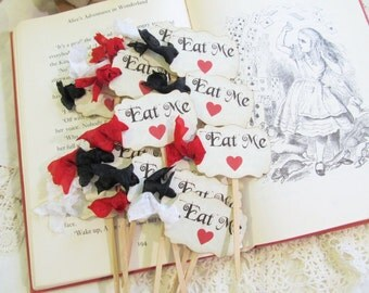 Eat Me Cupcake Toppers Party Picks with Ribbons & Red Hearts - Alice in Wonderland - Set of 12 or 18 - Choose Ribbon Color
