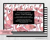 COLOR OPTIONS Pink Flamingos Invitation - Hand drawn- For Any Event - Digital Printable File - Modern Flamingo Invite, Item 148