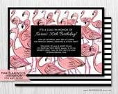 COLOR OPTIONS Pink Flamingos Invitation - Hand drawn- For Any Event - Digital Printable File - Modern Flamingo Invite, Item 148