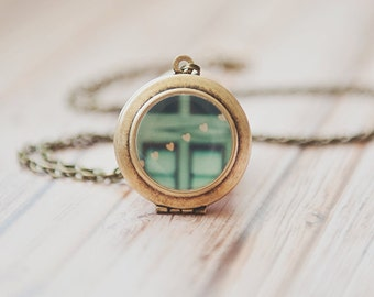 heart locket, photo locket, bokeh heart photograph, peppermint blue, necklace, bronze, jewelry, gold hearts, romantic, for her, Myan Soffia