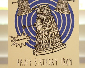 Doctor Who Birthday card - Dalek - Tardis - Dr Who - geeky - party - awesome - funny